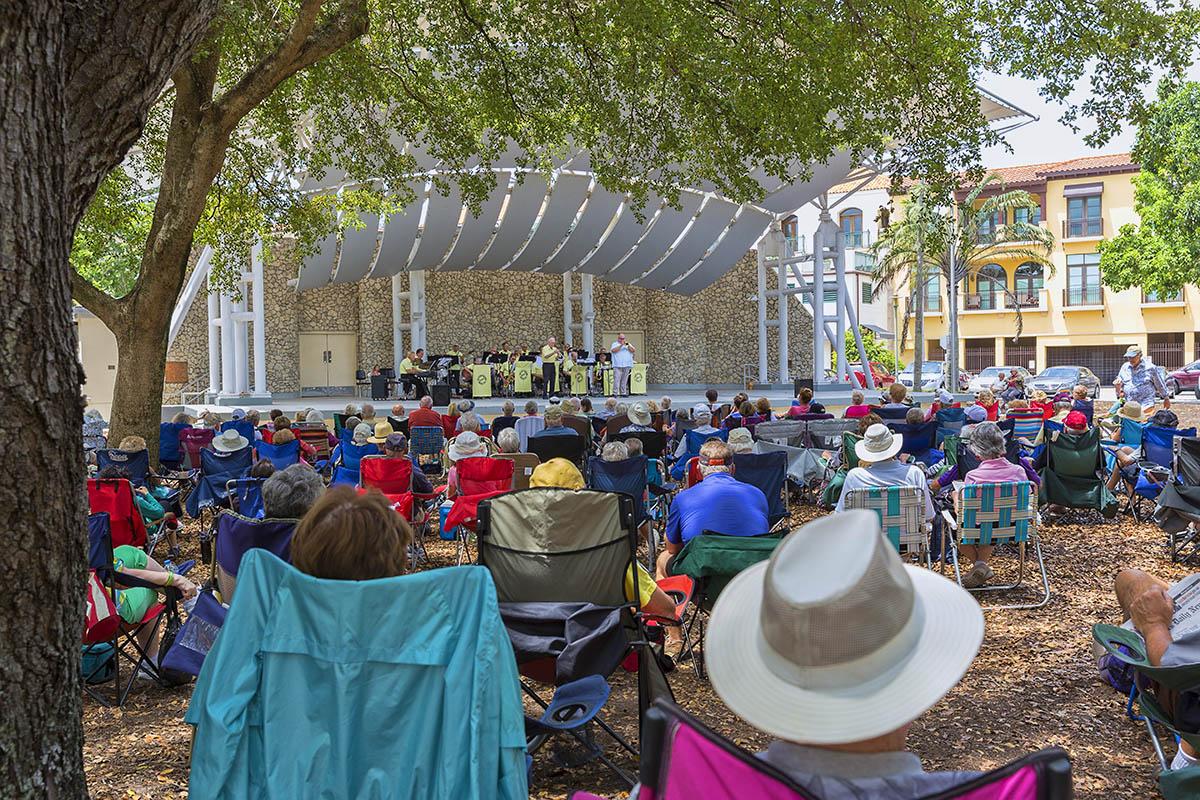 People Enjoy The Music Of The Gulf Coast Big Band